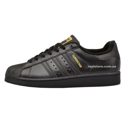 "Кроссовки Adidas Superstar Black/Gold ""Triple Black"""