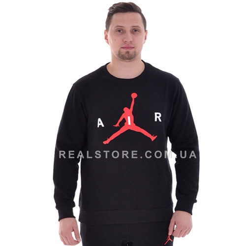 "Мужской свитшот с начесом Nike Air Jordan ""Black/Red"""