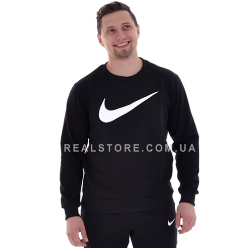 "Мужской свитшот с начесом Nike big logo ""Black/White"""